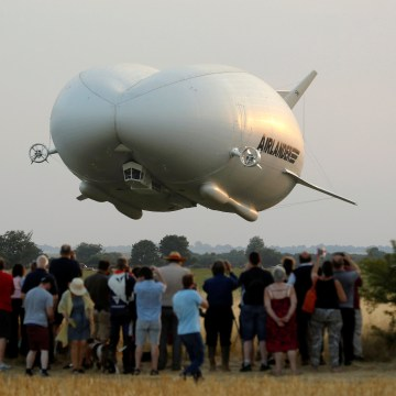 Image: The Airlander 10 hybrid airship makes its maiden flight at Cardington Airfield in Britain
