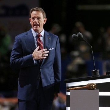 Image: Tony Perkins of the Family Research Council leads the Pledge of Allegiance at the Republican National Convention in Cleveland