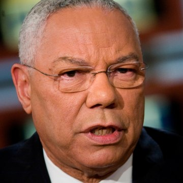 """Image: Colin Powell appears on """"Meet the Press"""" on Oct. 19, 2008"""
