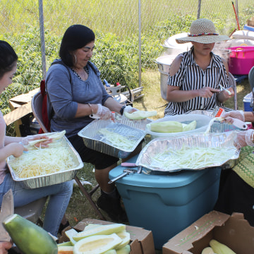 Hmong women cooking and cutting vegetables at a Hmong festival in St. Paul, Minnesota