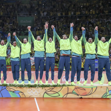 Brazil's Men's Volleyball Team Celebrates Gold