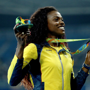Gold medalist Caterine Ibarguen of Colombia