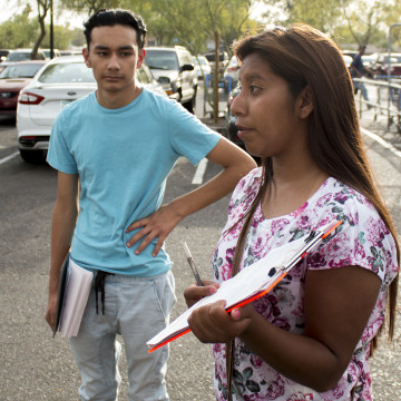 Yenni Sanchez, 18, has registered people to vote for three years.