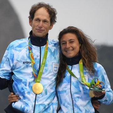 Argentina's Gold Medalist's Santiago Lange and Cecilia Carranza