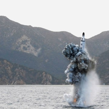 Image: File photo of an underwater test-firing of a strategic submarine ballistic missile is seen in this undated photo released by North Korea's KCNA