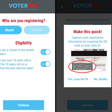 Image: The VoterPal voter registration app streamline the voter registration process for people with access to a smart phone