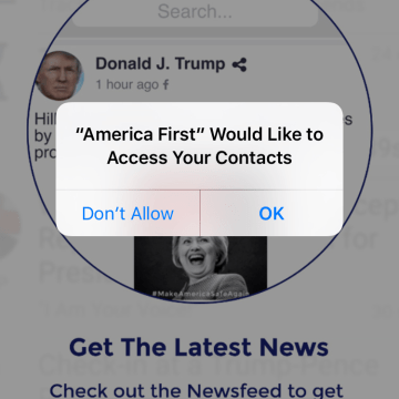 """Trump's new """"America First"""" app pulls information from users' address books."""