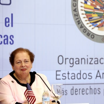 Image: Assistant Secretary of the United States, Mari Carmen Aponte speaks at a news conference during The 46th General Assembly of the Organization of the American States in Santo Domingo