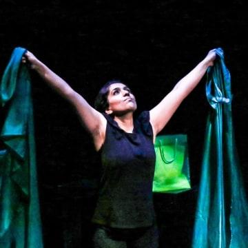 "Aizzah Fatima in her solo show, ""Dirty Paki Lingerie"""