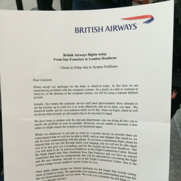 Image: A letter given to passengers at San Francisco apologized to passengers for the delays