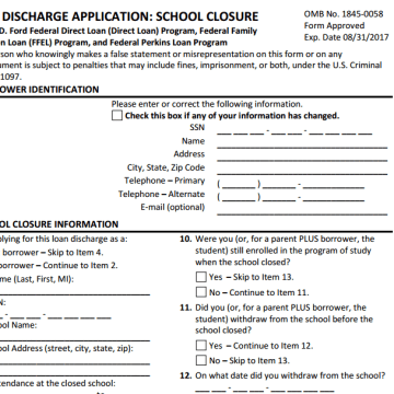 student loan discharge form.