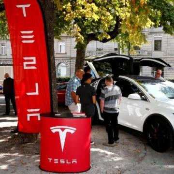 A Model X car of U.S. manufacturer Tesla is shown in Zurich