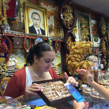 Image: Amber jewelry at kiosk near Kaliningrad, Russia