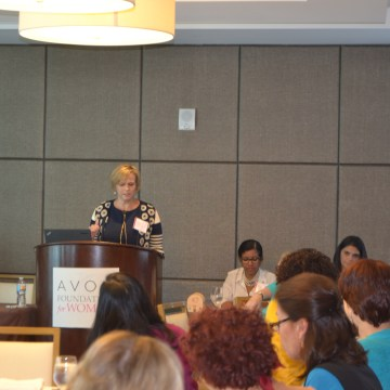 Cheryl Heinonen, President of the Avon Foundation for Women, speaks about breast cancer mortality among Hispanic women at their Breast Cancer Forum in Miami.