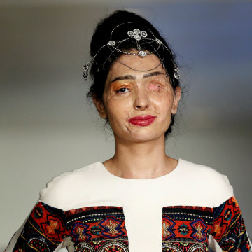 Image: Indian model and acid attack survivor Reshma Quereshi presents a creation from Indian designer Archana Kochhar's Spring/Summer 2017 collection during New York Fashion Week in the Manhattan borough of New York