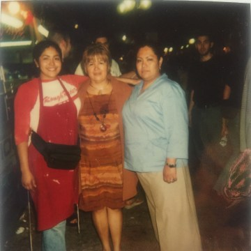 Left to right: Photo of Julissa Arce, her mother and sister when she worked at a funnel cake stand in high school.