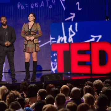 (L-R) Baratunde Thurston and Sara Ramirez speak at TED Talks Live -- Education Revolution, November 1, 2015, The Town Hall, New York City.