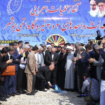 Image: A photo released by the office of Iran's Senior Vice-President shows the head of Russia's federal atomic agency, Sergey Kiriyenko, at Saturday's ground-breaking ceremony for its second nuclear power plant.