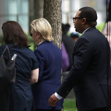 Image: Clinton leaves Sept. 11 ceremony