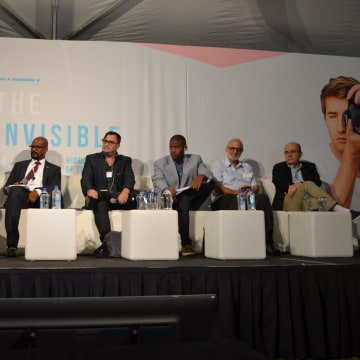 Left to right: Ted Henken, Professor at Baruch College; Nnake Nweke with the Office of Internet Freedom, BBG; Taylor Torres, a Digital Researcher; Norges Rodriguez, a Telecommunications and Electronics Engineer; Alan Gross, an International Development Sp
