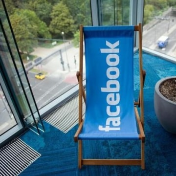 Picture shows Facebook logo on a beach chair at Facebook office in Berlin