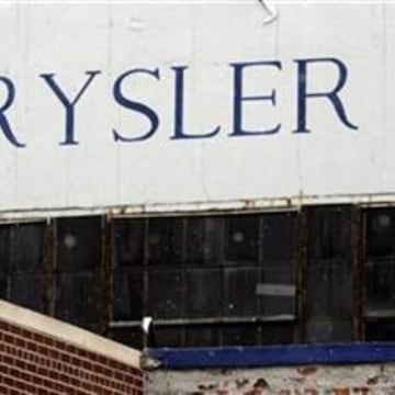 A Chrysler sign is seen on the front of Chrysler's Detroit Axle Plant in Detroit