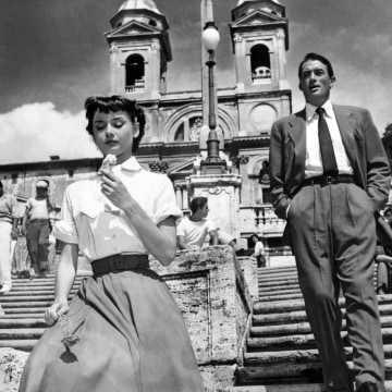 "Image: Audrey Hepburn and Gregory Peck in 1953 film ""Roman Holiday"""