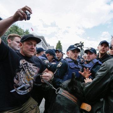 Image: Ukrainian activists protest against Russian parliamentary elections in Kiev