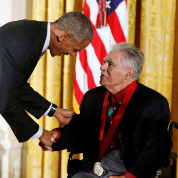 U.S. President Barack Obama awards the 2015 National Humanities Medal to author Anaya at the White House in Washington