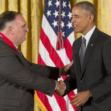 U.S. President Barack Obama presents chef Jose Andres with the 2015 National Humanities Medal