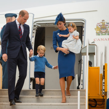 The royals arrive at Victoria International Airport on Saturday.