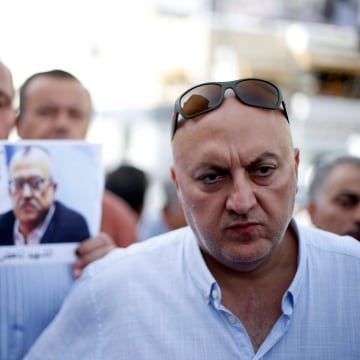 Image: Majed Hattar, brother of the Jordanian writer Nahed Hattar, speaks to the media during a sit-in in town of Al-Fuheis