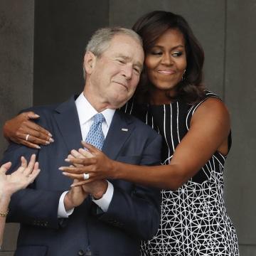 Image: Michelle Obama, George W. Bush