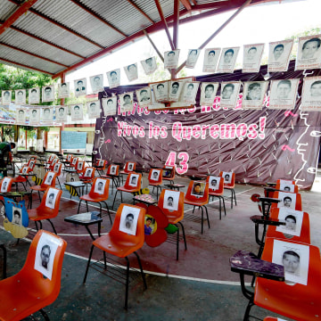 View inside the assembly hall of the Raul Isidro Burgos rural teaching school in Ayotzinapa, Guerrero state, Mexico on September 21, 2016.