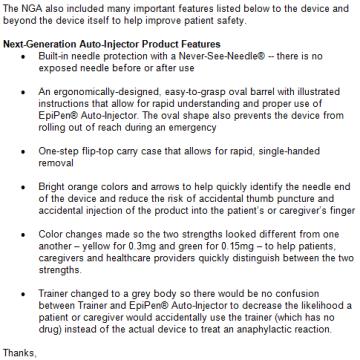 Mylan's list of EpiPen improvements
