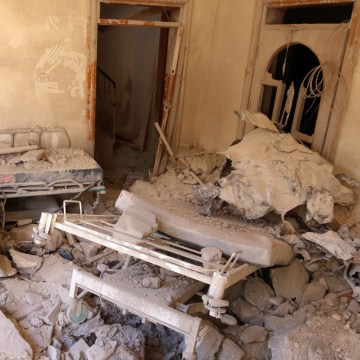 Image: A damaged field hospital room is seen after airstrikes in a rebel held area in Aleppo