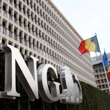 The logo of ING bank is seen at the entrance of the group's main office in Brussels