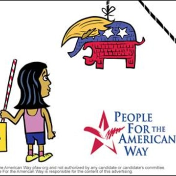 Political cartoon by Lalo Alcaraz for the People for the American Way voter registration initiative.