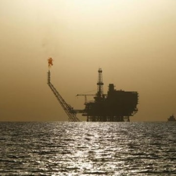 An offshore oil platform is seen at the Bouri Oil Field off the coast of Libya