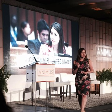 Frances Colon speaks at the Animus Summit in San Juan, Puerto Rico.