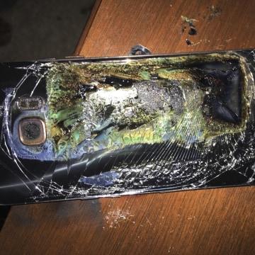 Image: A damaged Samsung Galaxy Note 7