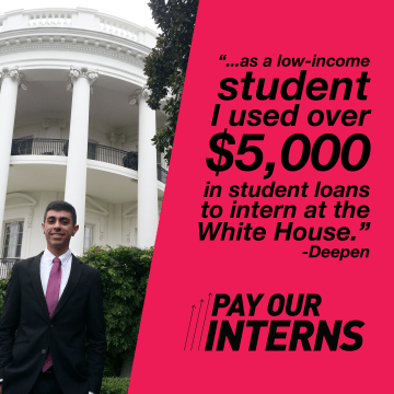 """Pay Our Interns"" organization campaigns to get Hillary Clinton and Donald Trump to pledge that if elected, they will offer more paid government internships for millennials"