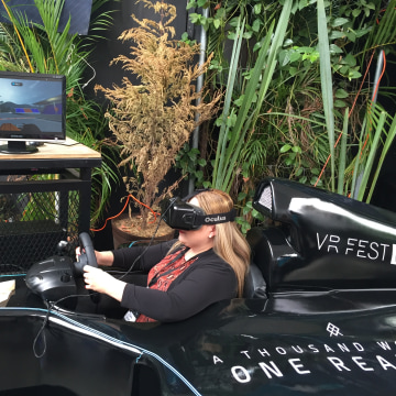 Cathy Hackl tries out a Formula 1 virtual reality experience.