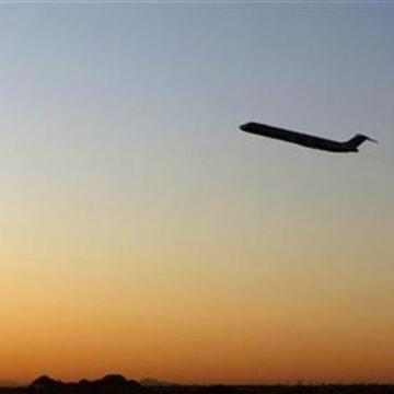 An airplane departs Sky Harbor International Airport in Phoenix