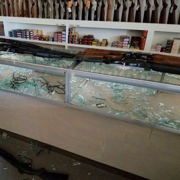 Image: Over 200 guns were stolen from the Five Star Gun store in Longs, S.C. during Hurricane Matthew