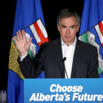 Image: Alberta Premier and PC party leader Prentice reacts after losing the Alberta election in Calgary
