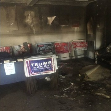 Image: Fire damage at the Republican Party office in Orange County, North Carolina.