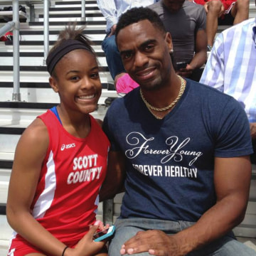 Image: Trinity Gay with her father Tyson Gay