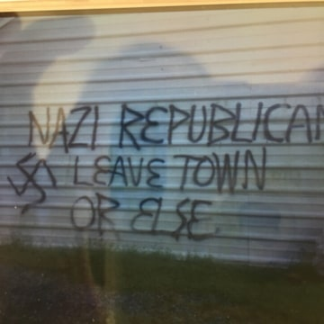 Image: Graffiti on the exterior of the Republican Party office in Orange County, North Carolina
