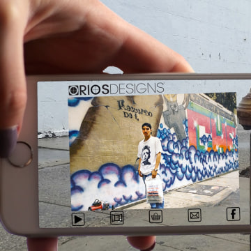 Oliver Rios' augmented reality photo of himself, at 19, in front of one of the popular graffiti murals he made in the 1990's